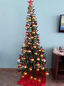 Moradores Enfeitam a Árvore de Natal do Refeitório