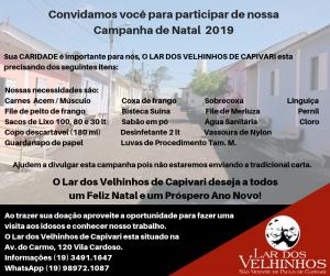 Lar dos Velhinhos de Capivari lançou a Campanha de Natal 2019