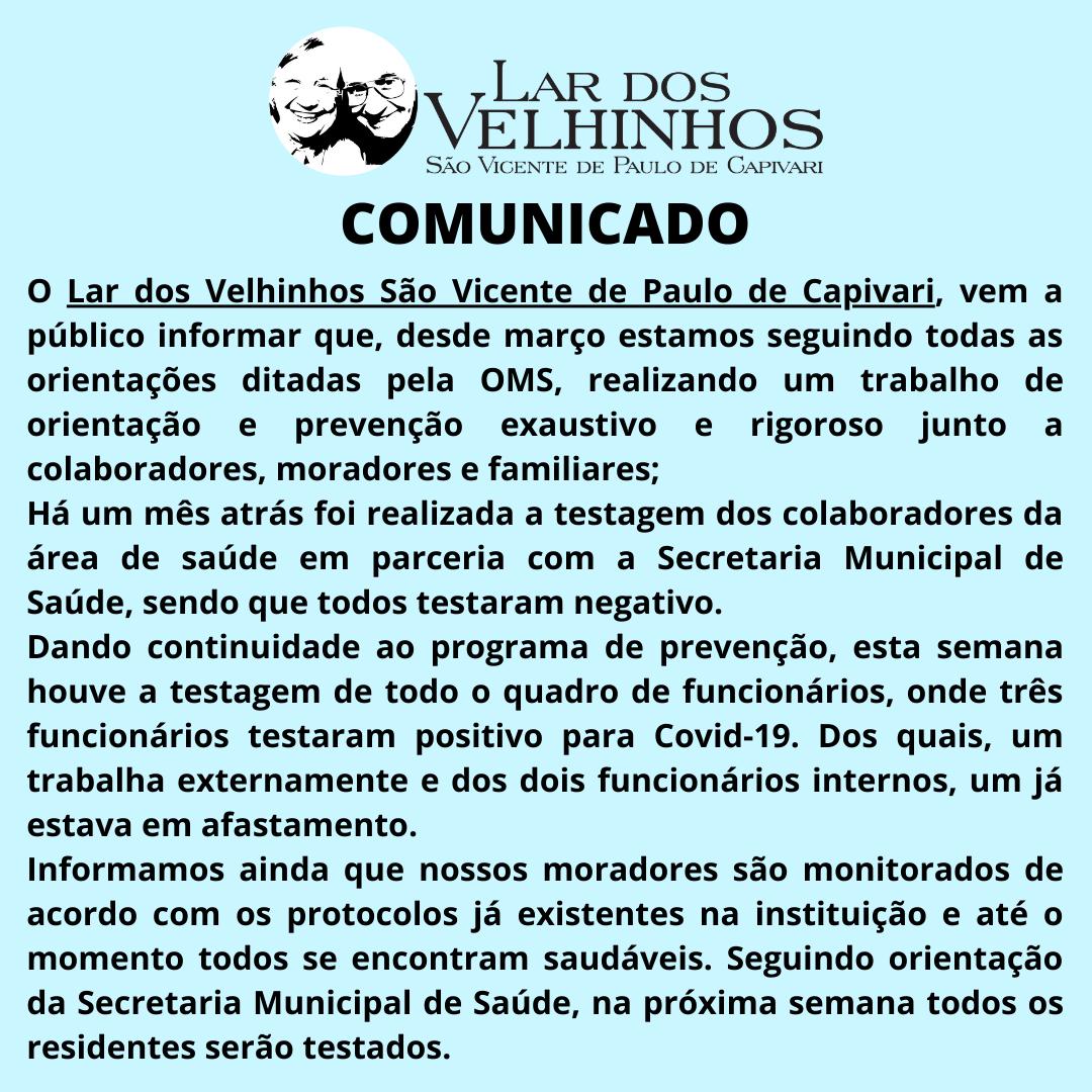 Comunicado em 03/08/2020