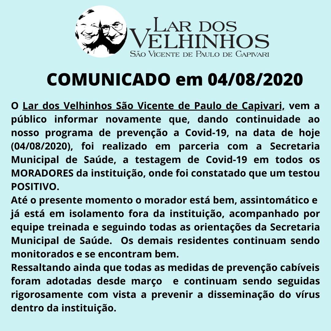 Comunicado em 04/08/2020