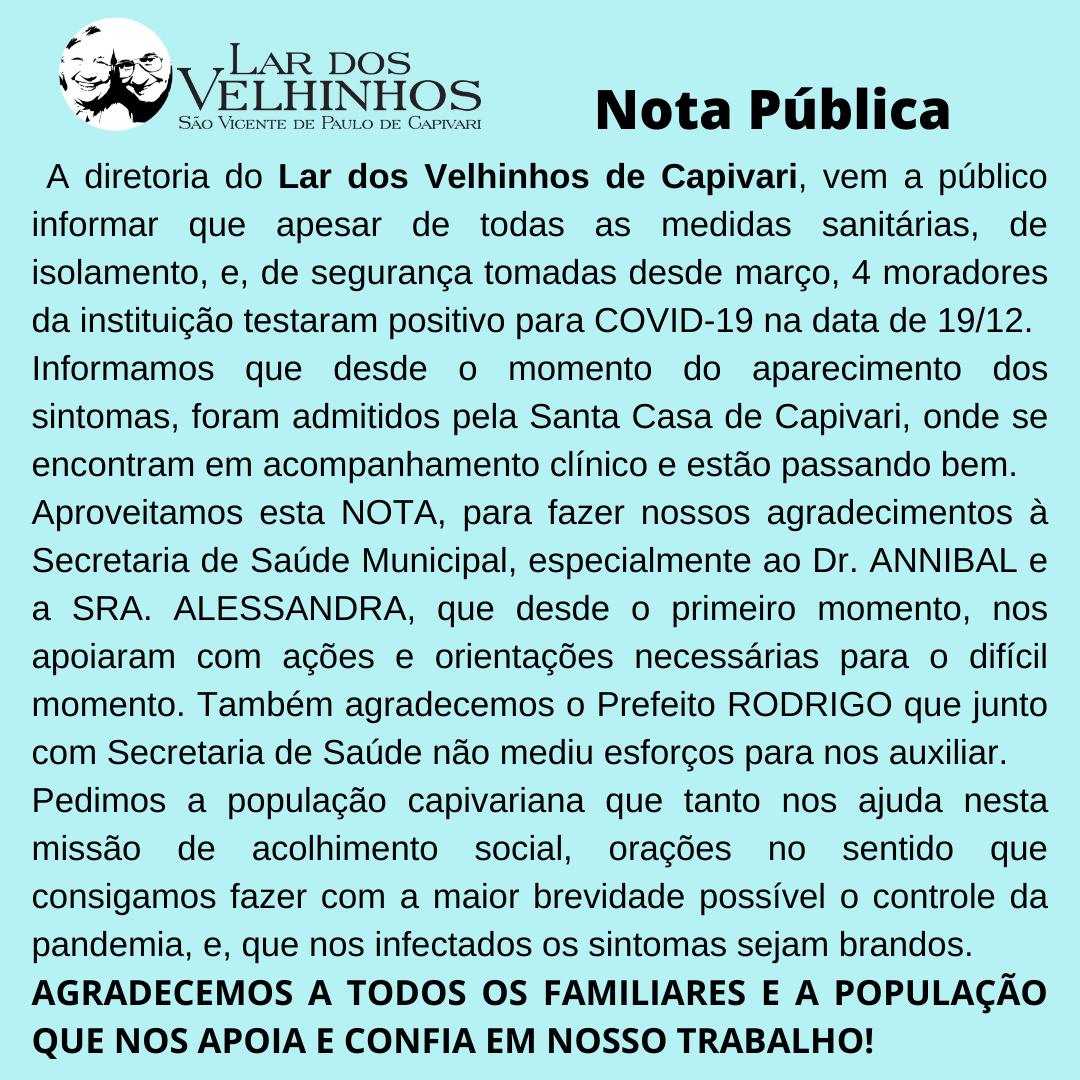 Nota Pública em 21/12/2020
