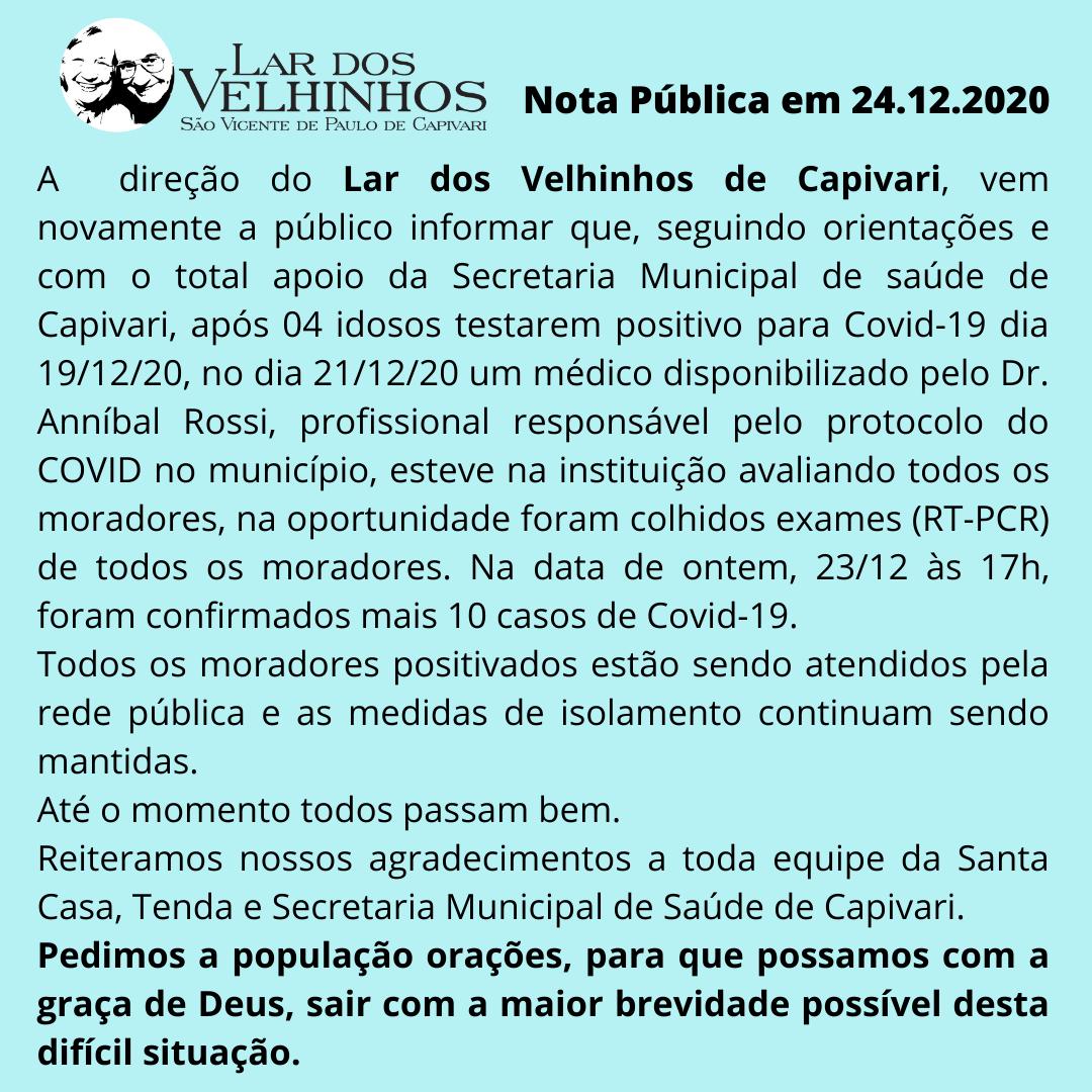Nota Pública em 24/12/2020